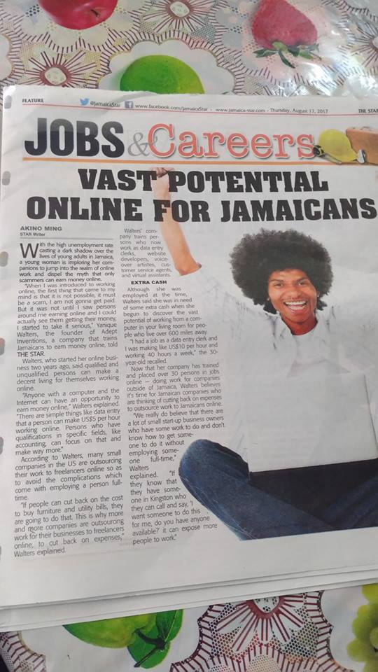 News paper interview at Star Jamaica about Adept Inventions